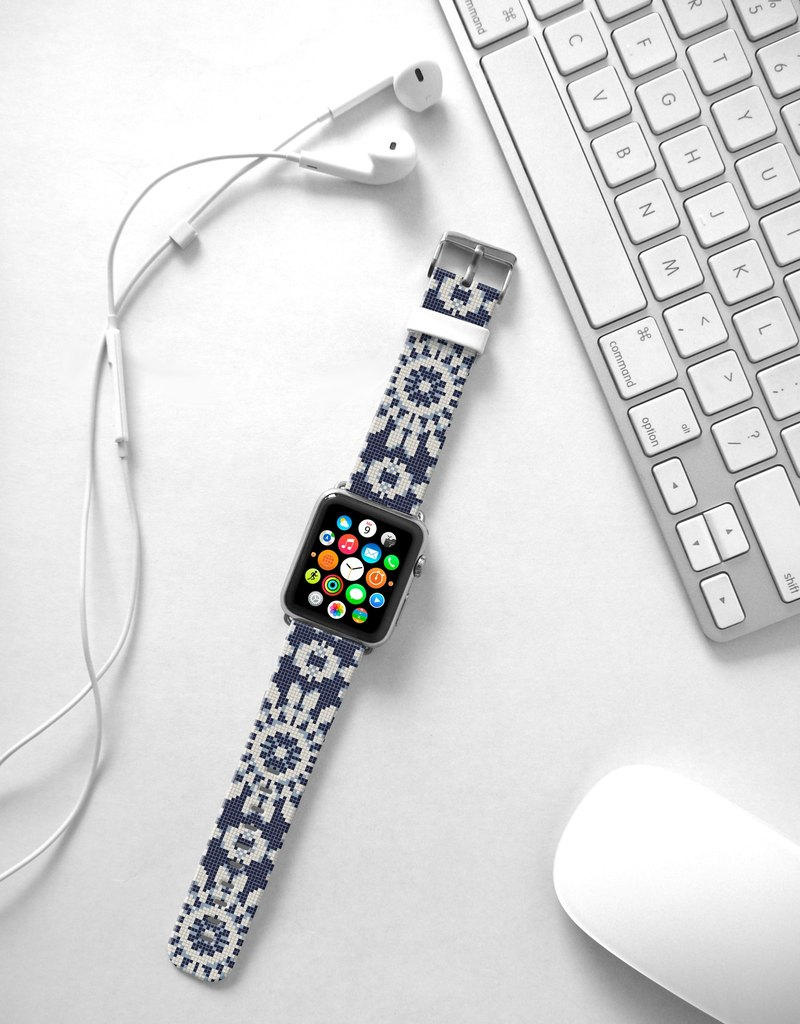 Apple Watch Series 1 , Series 2, Series 3 - Mosaic Tiles Floral Pattern Watch Strap Band for Apple Watch / Apple Watch Sport - 38 mm / 42 mm avilable