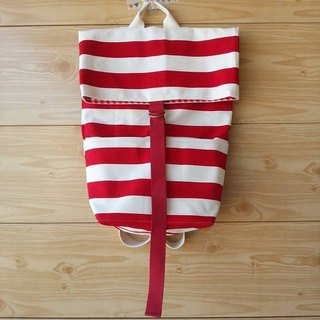 [Colorful] Backpack- gas rate red and white parallel lines