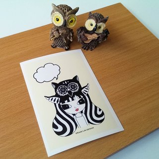 Black and white illustration postcard owl who chipped animals
