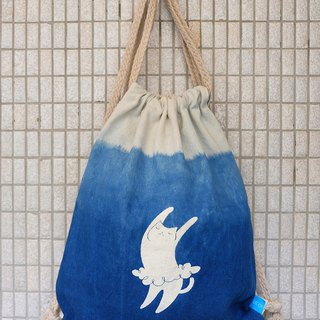 Herbal Dyed Backpack-Catfish/Dancing Cat