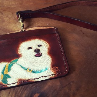 Custom-made pet dog coke brown pure leather horizontal identification card (made for lovers, birthday gifts)