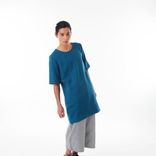 Sevenfold - Long Plush Round Neck Top Jacket Plush Long round neck T-shirt (blue)