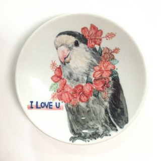 Ink love hibiscus wreath - [Customizable text] parrot painted small dishes