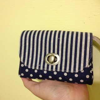 ﹝ Clare ﹞ Japanese hand-made cloth stripe * little turn buckle Clutch