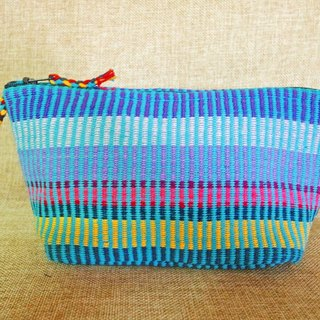 【Grooving the beats】Handmade Hand Woven Cosmetic Bag / Cosmetic Case / Makeup bag / Zipper Pouch / Pencil Bag(Blue)