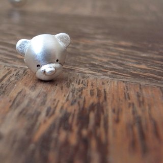 Teddy Bear No.28 Stud Earring--Sterling Silver--Silver Tiny Bear --Cute Bear