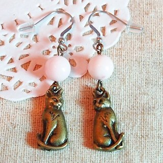Cat ball cat jade earrings 316L earrings