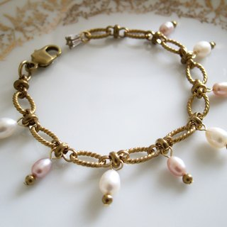 Minertés drops pearls twist brass bracelet