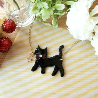Meow - black cat and star necklace