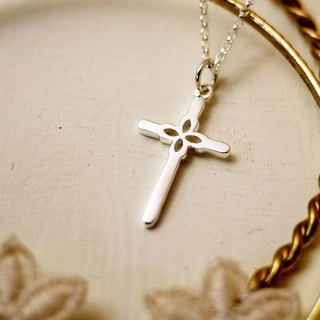 GT lace cross sterling silver necklace (straight section / cross section)