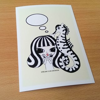 Black and white animal who chipped hippocampus illustration postcard