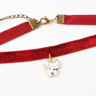 ฺRed velvet choker/necklace with white kitten charm