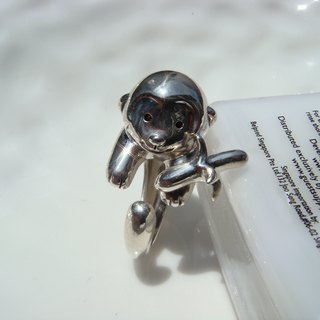 Small pets in hand. Cute naughty monkey ring