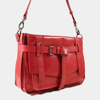 Influxx KAY Classic Leather Satchel / Leather Bag – Poppy Red