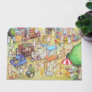 fish cat postcard / lively bazaar
