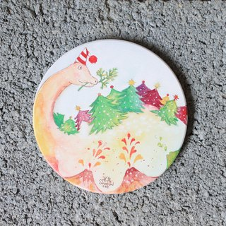 Christmas tree eating Brontosaurus ceramic water coaster