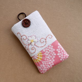 Peach pink flower vine embroidery phone bag (S)