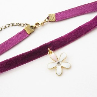 Purple velvet choker / necklace with flower charm.