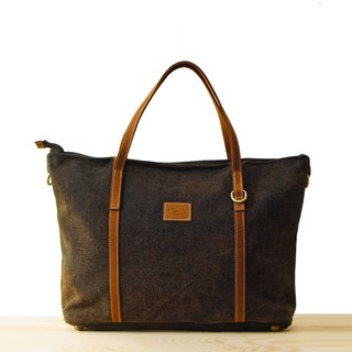 [Happa] generous canvas tote bag - stone-washed canvas classic (Black Coffee Black)