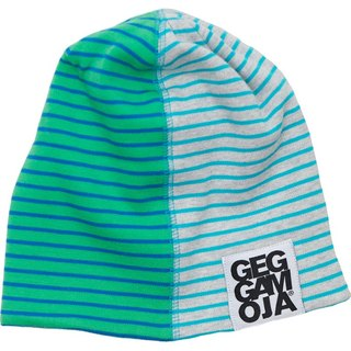 [Nordic children's clothing] Swedish organic cotton bristles hat _ two-color stripes green / blue