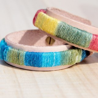 Cotton feel pure leather bracelet Bangle Bracelet - South gradient tone (two colors)