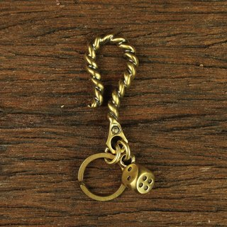Metal Rope Hook With Brass Dice Key Chain Dice twist key ring hook big