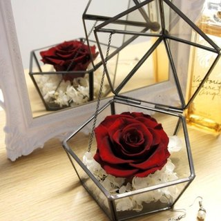 Pentagon non-withered rose glass jewelry box