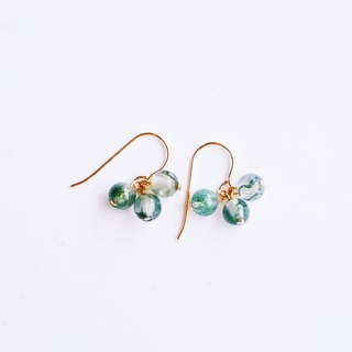 Natural Aquarium Stone Small String Earrings 14K GF Gift Natural Stone Light Jewelry Crystal