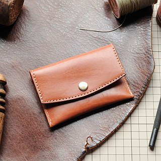 [DOZI leather hand-made] flip cover card holder leather for dyeing can be free color scheme for the light brown