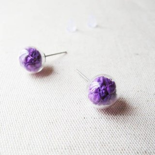 * Rosy Garden * sorghum dried purple glass ball earrings