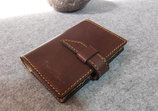 YOURS handmade leather goods practical leather business card book deep wood  leather