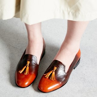 H THREE tassel shoes / smoked wood / flat / gradient / coffee / brown / Loafer
