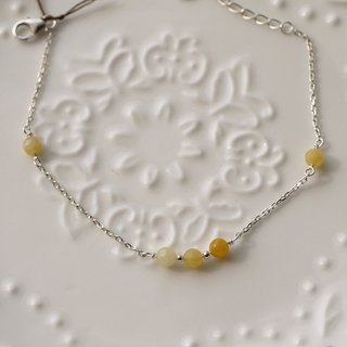 925 x natural stones Silver bracelet] [delicate flower yellow chalcedony (Christmas gift exchange)