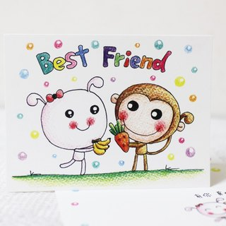 Illustration big card _ birthday card / million card (monkey rabbit gift)