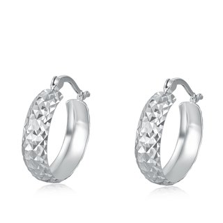 Hong Kong design 14K / 585 white gold net gold small ring earrings