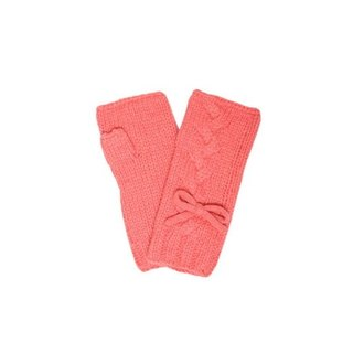 Salmon Pink Virgin Wool Fingerless Gloves