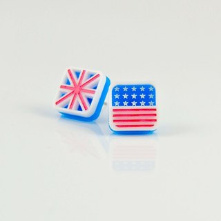 British American flag // Allergy needle / clip-on can be changed