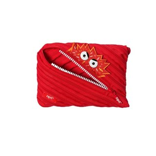 (5 fold out clear)-Zipit Talking Dialogue Monster Zipper Bag - (Large) Red