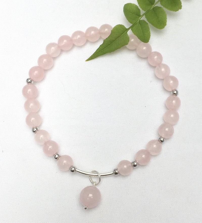 BR0330 - own design and manufacture of natural stones - rose quartz / silver bracelet 925