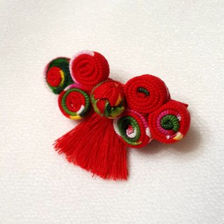 New Year festive series - China Button bangs hairpin [red / blue / light blue]