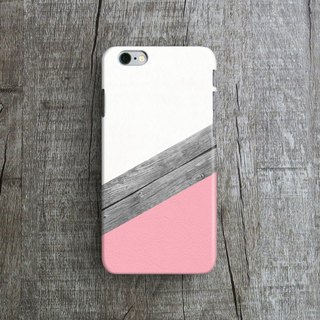 Pink Leather, Wood Collage - Designer iPhone Case. Pattern iPhone Case. One Little Forest