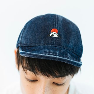 Denim Cap with Fuji Mountain Embroidery