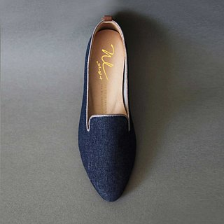 WL Denimローヒール(青) Heeled Loafers