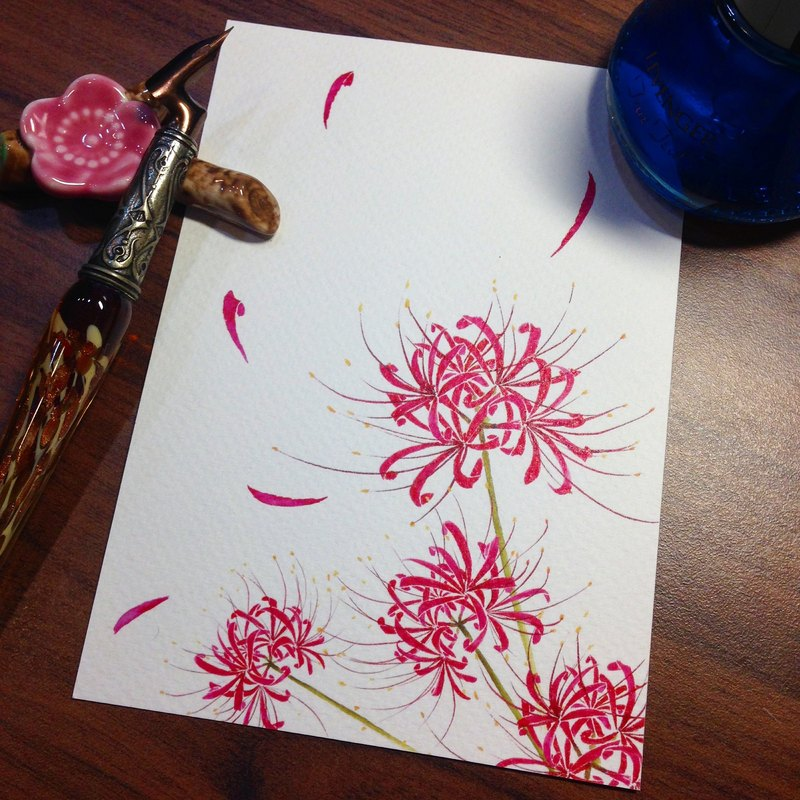 Postcard ~ ink stained Videos - lilies