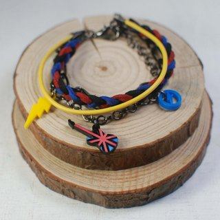 ROCKER British flag guitar multi-layered bracelet