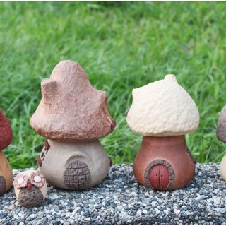 [Village] Super Mushroom Mushroom Village textured hand-made pottery mushroom big house, 4 / group (# A, B, C, D), the entire group of special, free owl