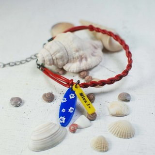 Surfboard calfskin bracelet + small tag [Text can be customized]