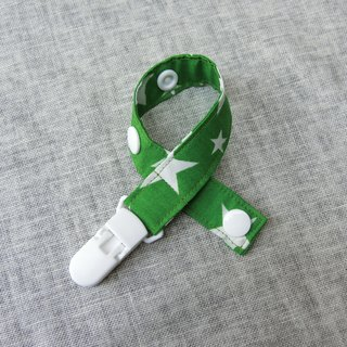 Green White Star - Clipping Pacifier Chain / Toy Band