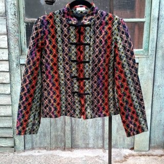 Quilted wool coat color Chinese knot