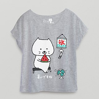 *Mori Shu*steamed buns eat watermelon, summer い で す ne! T-shirt (gray index area)